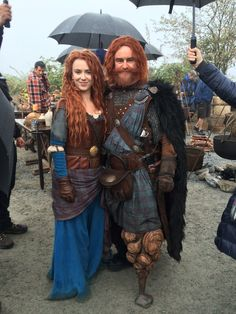 Amy Manson and Glen Keough on set