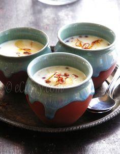 sabudana kheer: tapioca pudding w/ saffron + nuts • eCurry. I love these pottery bowls.