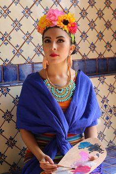 SET Earrings & Flower Crown Mexican Artist Day of by LoveCarolineO