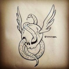"""Inktober // Day 12 (late) """"Skull&Snake"""" #inktober #inktober2015 #sketch #sketchbook #snake #skull"""