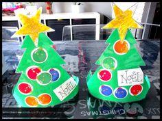 - Aujourd'hui réalisation d'un chapeau sapin de Noel , imprimer sur du papier couleur, collage de boules de Noel et peinture jaune sur l'étoile avec des paillettes ! ( prévoir 2 étoiles par enfant double face ) - plastifier le tout, découper, agrafer...