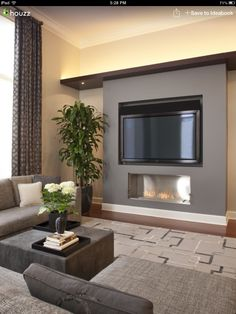 Fireplace under TV