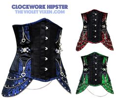 The dazzling emerald, sapphire and ruby brocade on these highly detailed Gothic under bust corsets includes chains with skull and crossbones detail.   http://thevioletvixen.com/corsets/clockwork-hipster-sapphire/