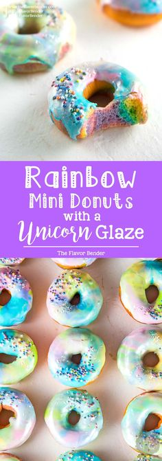 Mini Rainbow Donuts with a unicorn Glaze- Colorful and gorgeousfried donuts made with rainbow colored dough and coated with a rippled unicorn glaze.  via @theflavorbender