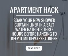 Soak your new shower curtain liner in a salt water bath for three hours before hanging it to keep it mildew-free for longer | Apartment Living Tips & Hacks | Small Space Living | Home Decor Tips & Tricks
