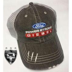 DieselTees- Power Stroke Diesel Denim Distressed Hat | Available at www.DieselTees.com #dieseltees #powerstroke #diesel #hat