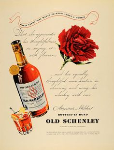 1940 Ad Bottled-in-Bond Old Schenley Whiskey Carnation - ORIGINAL F4A