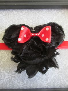 Minnie Mouse Inspired Shabby Flower Headband or by BlackDahliaDog, $7.00