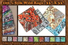 100% Silk Wild Rags - Paisley - 33 inches X 33 inches- Tribal And Western Impressions - www.indianvillagemall.com