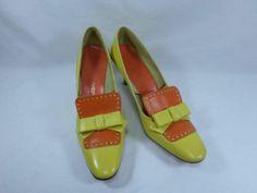 Womens shoes SMARTAIRE yellow orange VINTAGE 60's rockabilly heel pump sz 7.5 AA
