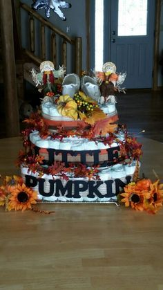 Fall theme diaper cake. Christina and Holly did an amazing job for Steph's shower!