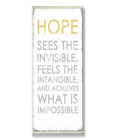 Let hope in today. :: 'Hope Sees' Inspirational Wall Plaque-Amen