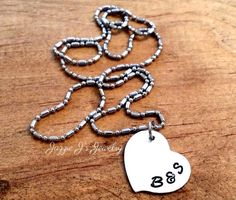 Swirly Heart Personalized Necklace Simple by JazzieJsJewelry