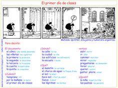 Me encanta escribir en español : Mafalda : primer dia de clase