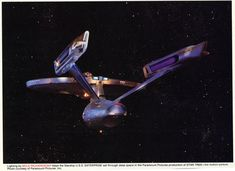 A very rare shot of the U.S.S. Enterprise, from the first Star Trek Movie. It was an ad for Mole Richardson, a photographic lighting company. I tried to remove as much noise from the shot as possib...