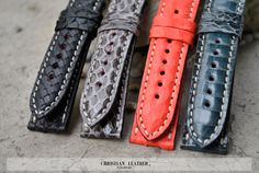 Snake Leather Handmade Watch Strap - Custom Size Any Lug Width Color & Stitching to fit many watch models by ChristianStraps on Etsy Watch Model, Snake, Gloves, Watches, Luxury, Trending Outfits, Unique Jewelry, Handmade Gifts, Stitching