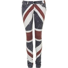 Union Jack Flag Jeans by Religion ($83) ❤ liked on Polyvore featuring jeans, navy blue, patterned jeans, union jack jeans, print jeans, classic fit jeans and topshop jeans