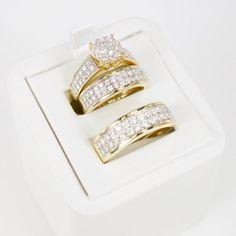 Novelty & More 2heart 3/4 Ct D/VVS1 Diamond His & Her Engagement Ring Trio Bridal Set 14K Rose Gold Fn