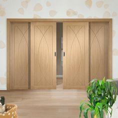 Easi-Slide OP1 Oak Pesaro Flush Sliding Door System in Four Size Widths. #internalflushoakdoors #internaloakslidingroomdividers #xljoineryeasislidedoors