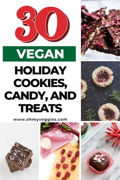 People have a preconceived notion about vegan baking that just isn't true—they assume that without the eggs and dairy, vegan treats just don't stand up to the original. These 30 recipes for vegan holiday cookies, candy and other sweet treats will show you that's really not the case. #vegan #baking #candy #cookies #holidays #christmas Vegan Baking Recipes, Dairy Free Recipes, My Recipes, Cookie Recipes, Candy Cookies, Holiday Cookies, Gluten Free Cookies, Vegan Treats, Holiday Baking