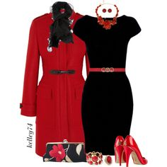 Long Red Coat and a Black Dress for Christmas, created by kelley74 on Polyvore