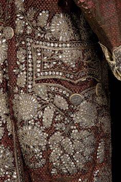 France, 18th c man's suit, used for Mario in Marivaux's Jeu de l'Amour et du Hasard, La Comédie Française, re-used in Le Veuf de Carmontelle, 1938 and On ne badine pas avec l'amour, 1940, silk velvet and satin, embroidered