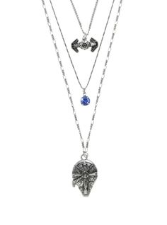 Star Wars Millennium Falcon & TIE Fighter long layered necklace at Hot Topic