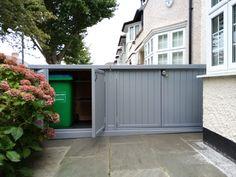 Bin Storage, Bike Shed, Sheds, Garage Doors, Garden, Outdoor Decor, Home Decor, Shed Houses, Garten