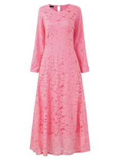 Sale 15% (43.69$) - Elegant Women Long Sleeve Lace Crochet Pure Color Maxi Dresses