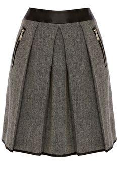 Clothing | Black CONTRAST WAISTBAND TWEED SKIRT | Warehouse