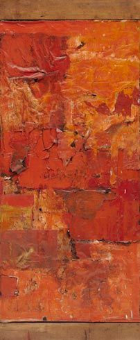 Robert Rauschenberg / Untitled (Red Painting) / ca. 1953 / oil, fabric, and newspaper on canvas, with wood