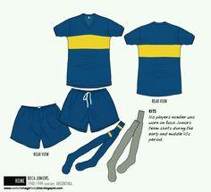 Boca Juniors of Argentina home kit for 1940-49.