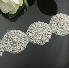 1Yds Beaded Resin Rhinestone Flower Trims Bridal Costume Applique Sash  Headband  2f359b114e00