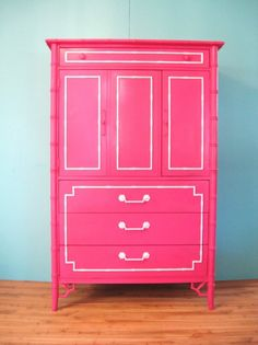 Vintage HOLLYWOOD REGENCY Hot Pink Faux BAMBOO Chest Dresser
