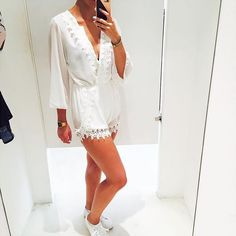 Fabulous Sabrina wearing the Heavenly White Playsuit!