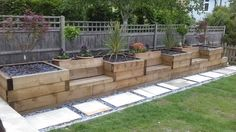 Raised beds with integrated garden seating made from railway sleepers. #garden #sleepers