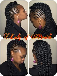 Cardi B inspired style Protective hairstyle  Ghana feeding cornrows goddess braids for black women