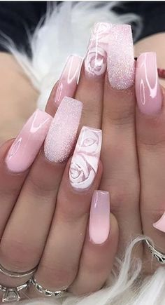 Ombre Nails Design ideas and Combine With your Dresses Part 6 - Trend Spring Nails Coffin 2019 Cute Acrylic Nail Designs, Ombre Nail Designs, Best Acrylic Nails, Rose Nail Design, Matte Nails, Ombre Nail Art, Best Nail Designs, Fancy Nails Designs, Pink Ombre Nails