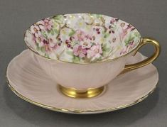 """Shelley Footed Oleander Pink """"maytime Chintz"""" Cup & Saucer Excellent #13416/s9"""