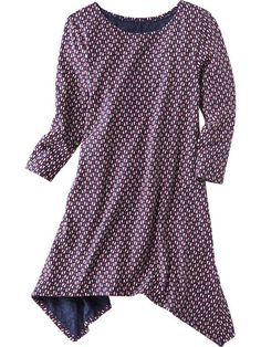 Girls Printed Sharkbite-Hem Dress