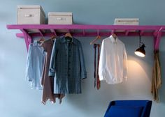 open closet using mounted ladder