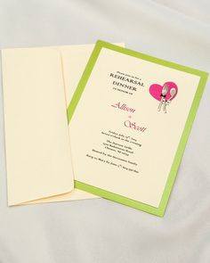 Lime green bordered invitations with dream colored envelope #lime #green #diy #invitations #bridalshower #engagement party #sbabyshower