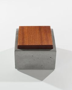 Small Grey Concrete Box with solid Dark American by INSEKDESIGN