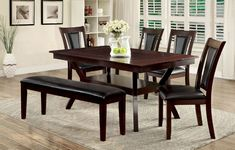 6 pc Darby home co wilburton brent cherry wood finish dining set with bench. This set includes the table with 4 side chairs and bench. Table measures x x H. Side chair measures 19 x x 38 H. Bench measures x x H. Dining Room Chairs, Side Chairs, Dining Tables, Upholstered Dining Bench, Dining Set With Bench, Wooden Tops, Flare, Furniture, Cherry Finish
