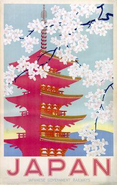 Shop Vintage Travel Poster, Japan Poster created by yesterdaysgirl. Retro Poster, Poster Vintage, Vintage Travel Posters, Vintage Home Accessories, Paper Wall Art, Art Japonais, Vintage Wall Art, Japan Art, Japanese Design