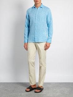 Etro Button-cuff linen shirt Mens Sky-blue Clothing Casual-shirts,sneakers etro cheap,Top Brand Wholesale Online