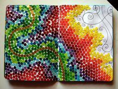 Paint chip collection, a hole puncher, and lots of patience & glue ~ by aliastriona_angerboda   . . . .   ღTrish W ~ http://www.pinterest.com/trishw/  . . . .  #art #journal