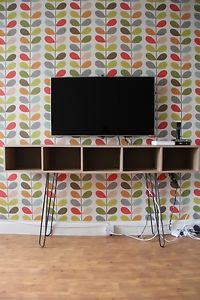 Giant Stem Wallpaper By Orla Kiely From Harlequin Muji A4 Pulp Unit System Hacked With Hairpin Legs Boho Living Room Console Tables