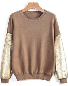 Khaki Round Neck Sequined Loose Sweater 28.67