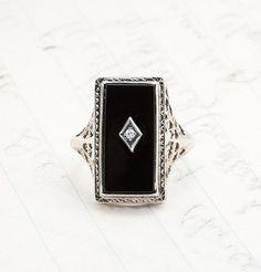 1920s Onyx and Diamond Filigree Ring, $525.00